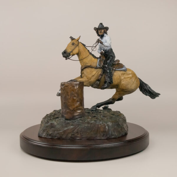 Barrel Racer 1992 by western artist Jay Contway